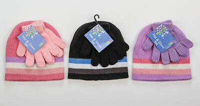New Kids Childrens Girls Hat And Gloves Set - Winter Warm - Pink - Lilac - Black