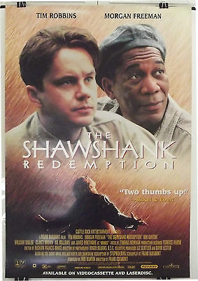 Shawshank Redemption -Tim Robbins/morgan Freeman- Original Uk Video 1Sht Poster