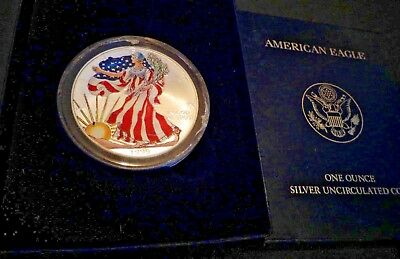 1999 FULL COLORIZED  American Silver Eagle 1 Troy Oz ,1 Dollar Coin BU.999 #308