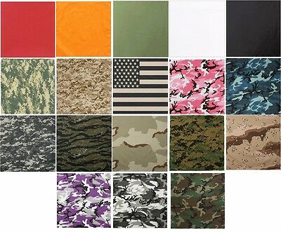 "Biker Bandana 27"" x 27"" Camouflage Or Solid Extra Large Military Cotton Rothco"