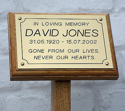 7x5 Oak Wooden Memorial Stake Grave / Tree Marker Cremations Engraved Plaque