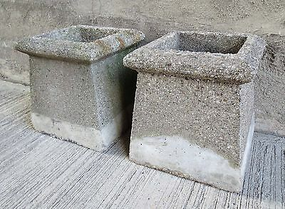 Vtg. Pair Chimney Pot Tops,Pea Gravel & Concrete ,Coffee Table Base's