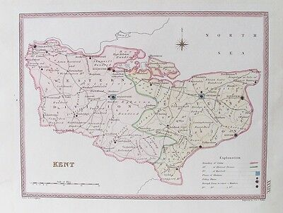 OLD ANTIQUE MAP KENT PARLIAMENTARY DIVISIONS c1830s bY CREIGHTON / WALKER 19thC
