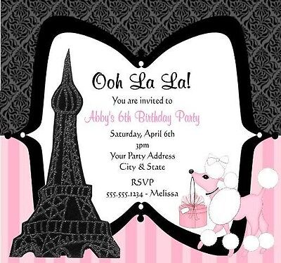 Eiffel Tower Pink Poodle Paris Birthday Party Invitations Personalized Custom