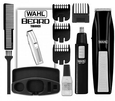 Wahl Cordless Battery Operated Beard Trimmer with Bonus Trimmer, 5537-1801, New