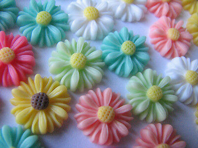 Daisy Days in Spring Resin Cabochons 5 Pairs 5 Colours Retro Style