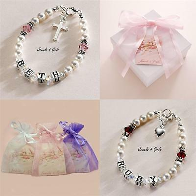 Birthstone Bracelet with Name, Girl's child's Jewellery Sterling Silver & Pearls