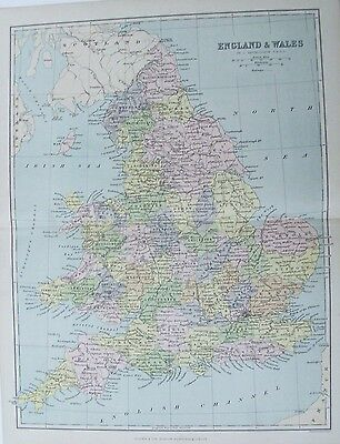 OLD ANTIQUE MAP ENGLAND & WALES UK c1880's by BARTHOLOMEW 19th C PRINTED COLOUR