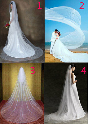 """Extra Long Cathedral Bridal Wedding Veil + COMB White Ivory 118""""196"""" 1-2 layer"""