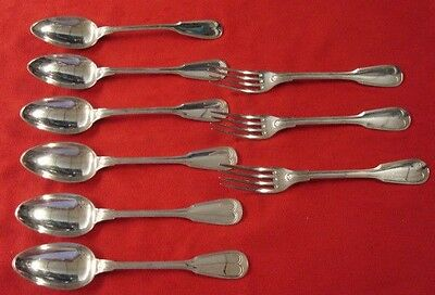 Belgium 800 Silver - Fiddle Thread - 6 Serving Spoons & 3 Forks (#2152)