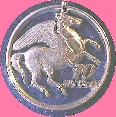 Pegasus 10 Drachma Cut Coin Necklace Greek Mythical