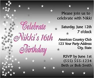 Sweet Sixteen Birthday ANY AGE Hollywood Party Invitations Custom Personalized