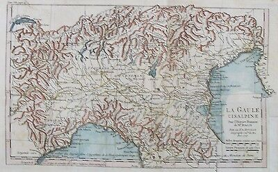 OLD ANTIQUE MAP LA GAULE CISALPINE ITALY ALPS c1741 by D'ANVILLE 18thC ENGRAVING