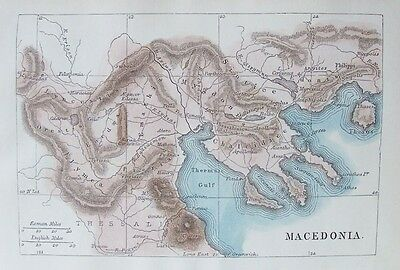 OLD ANTIQUE MAP MACEDONIA c1862 19th CENTURY ENGRAVING HAND COLOUR