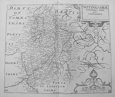 OLD ANTIQUE MAP NOTTINGHAMSHIRE c1637 by W SAXTON / W KIP 17th CENTURY ENGRAVING