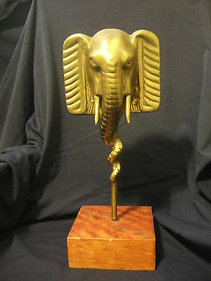 Big 100% Solid Brass Elephant Statue Bust Piece On Stand! Gold Shine! Beautiful!