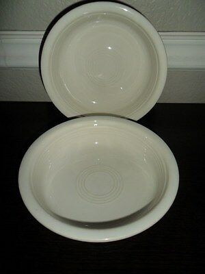 2 HOMER LAUGHLIN CO. IVORY OFF WHITE FIESTA COUPE SOUP BOWLS MADE IN USA