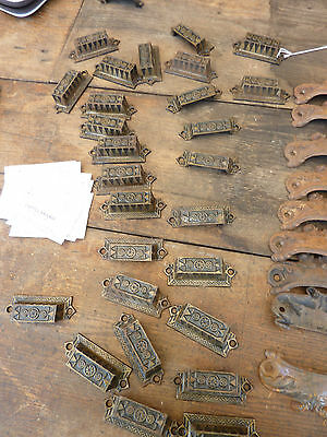 """c1880 LOT of 9 matching authentic VICTORIAN cabinet pull hardware 2.5"""" on holes • CAD $170.10"""