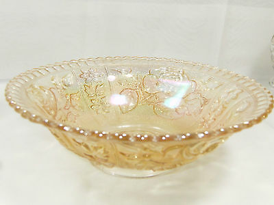 Vtg IMPERIAL OPEN ROSE SERVING BOWL - Carnival Glass – Clear w/Amber Iridescence