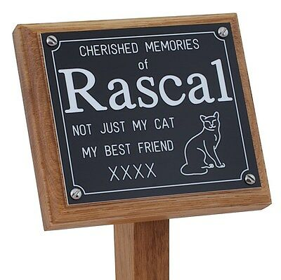 "Wooden 14"" Pet Memorial Stake Grave Marker Free Personalised Engraving on Plaque"