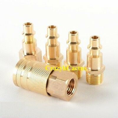 Brass Air Coupler Set Male/Female Hose Fittings Adapter 5 Pc Set 1/4 NPT