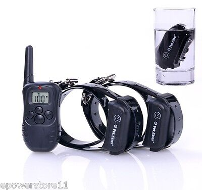 300M Rechargeable Pet Dog Training Collar No Bark Collar For 1,2 Dogs Waterproof