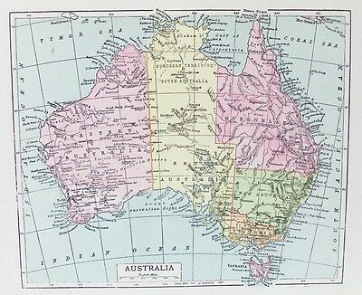 OLD ANTIQUE MAP AUSTRALIA TASMANIA c1900 PRINTED COLOUR