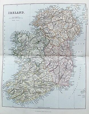 OLD ANTIQUE MAP IRELAND c1880's by W MACKENZIE 19th CENTURY PRINTED COLOUR