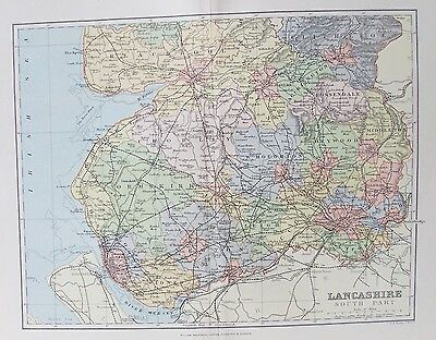 Antique County Map 1893 Old Plan Chart Maps, Atlases & Globes Responsible Lancashire South Part