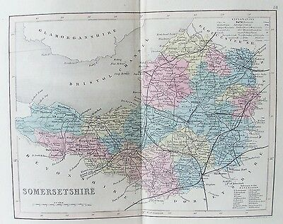 OLD ANTIQUE MAP SOMERSETSHIRE c1840's by J ARCHER ORIGINAL HAND COLOUR ENGRAVING