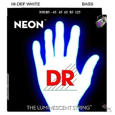 DR NWB5-45 HiDef Neon White Coated Medium 5-String Bass Strings (45-125)