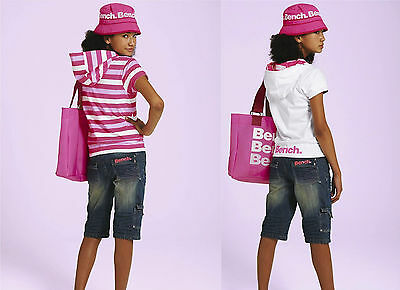 NEW GIRLS BENCH REVERSIBLE SWEAT TOP HOODIE in pink/white size 15/16 years