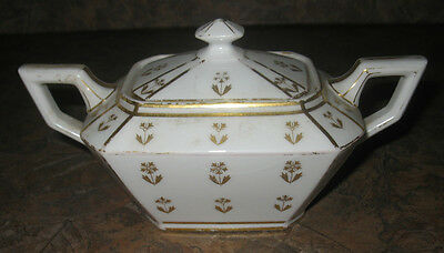 BEAUTIFUL VINTAGE LIMOGES SUGAR BOWL W/ GOLD FLOWERS AND ACCENTS