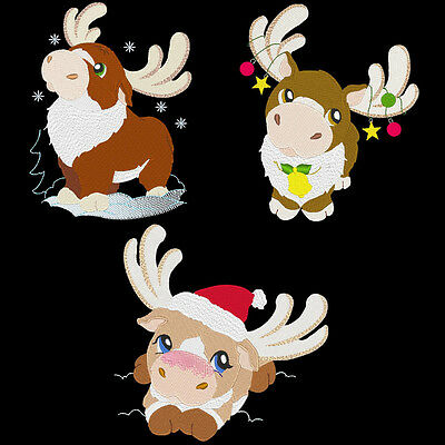 Santas Reindeer - 30 Machine Embroidery Designs (Azeb)