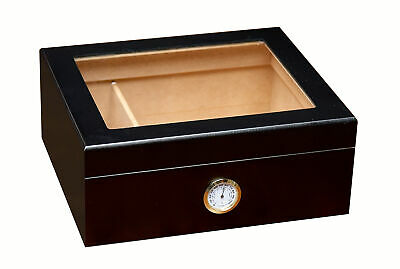 Prestige Import Group Black Chalet Glass Top Cigar Humidor