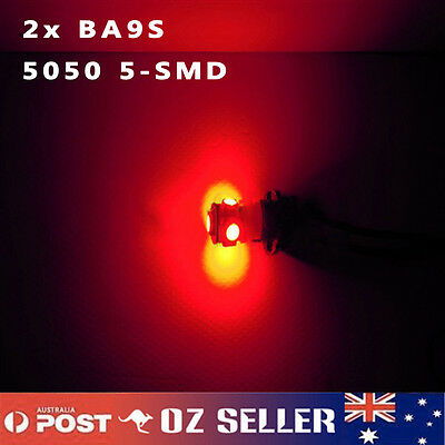 2x BA9S 5050 5-SMD Red LED T4W 1895 Dash Parker Interior NO.Plate Light Bulb