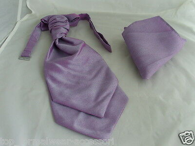 <GG> Dark Lilac MENS Ruche Tie-Cravat and Hankie Set-The More U Buy> More U Save