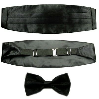 New Set Men's Adjustable Pleated Solid Black Cummerbund Bowtie Pre Tied LJYF06