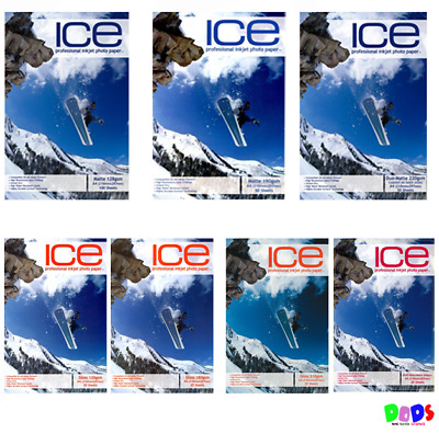 ICE - A4 INKJET PHOTO PRINT PAPER - CHOICES - VARIOUS WEIGHTS - MATTE or GLOSS