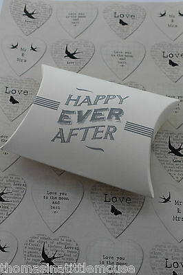 HAPPY EVER AFTER small pillow gift box -ivory grey wedding present wrapping