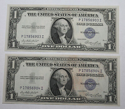 X 2 Crisp Consecutine # 1935 E $1 Blue Seal Silver Certificate Currency Notes