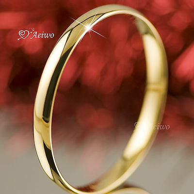 18K 18Ct Yellow Gold Filled Slip On Solid Bangle Lady Womens Bracelet