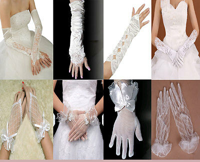 Wedding Bridal Lace Satin Gloves White Ivory Wrist Elbow 7 12 16inch Accessory