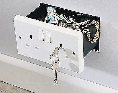 Imitation Double Plug Socket Wall Safe, Soneva Security Secret Hidden Box 3 Keys