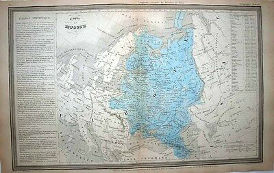 1843 Dufour Map RUSSIAN EMPIRE Europe & Beyond, Statistical Tables, Decorative!