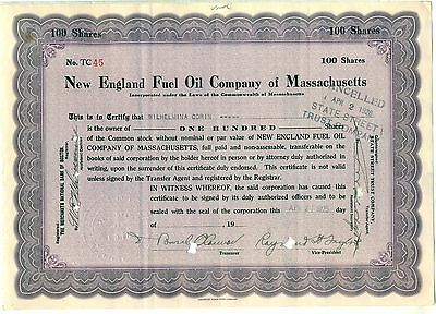 New England Fuel Oil Company of Massachusetts Stock Certificate