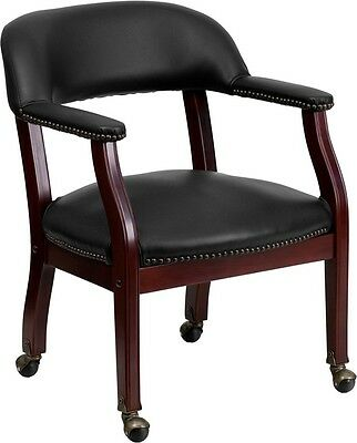 Black Vinyl Luxurious Conference Chair with Caters - Office Guest Side Chair