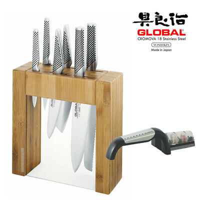 IKASU GLOBAL BNIB and BONUS Mino SHARPENER Knife Block Set  **FREE POSTAGE***