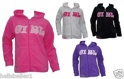 "Girl's Fleece ""girl"" Hoody/hooded Zipper Top/jacket 2 3 4 5 6 7 8 9 10 Yrs"