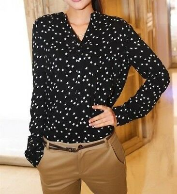 Womens Autumn Long Sleeve Little Stars Print Buttom Down Shirt Cotton Blouse